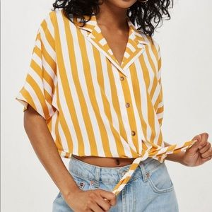 Striped Tie-Front Cropped Button-Down Blouse